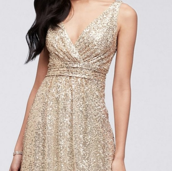Plus Size Gold Sequins Gown & Short Sleeve Shrug